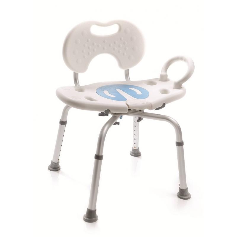 Silla de ducha giratoria 360 con respaldo ortopedia for Sillas para hacer del bano