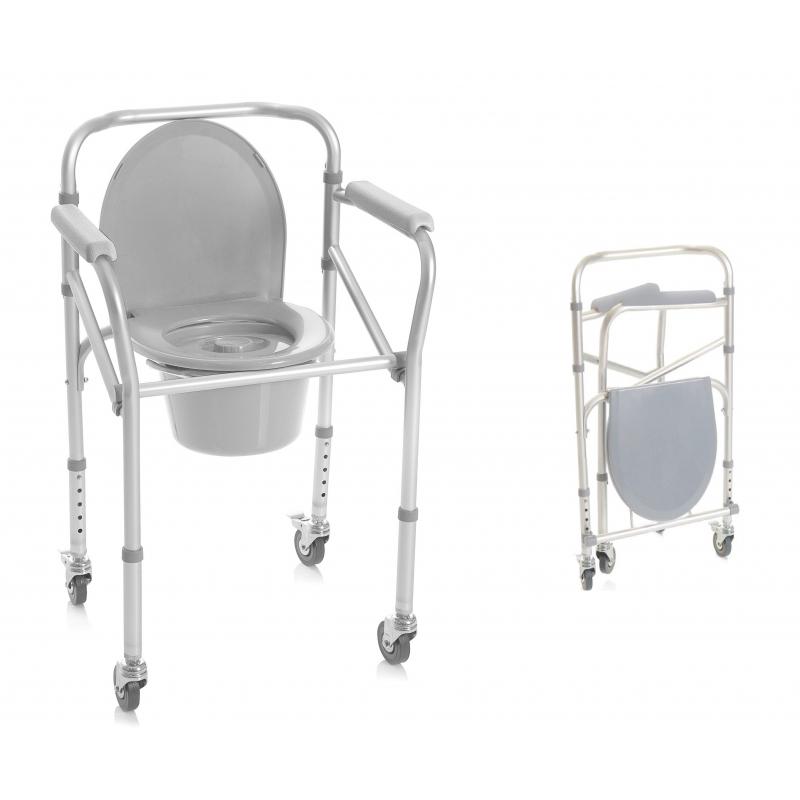 Silla wc ducha 4 en 1 en alumino con ruedas cosmo m dica for Sillas para quirofano