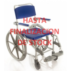 SILLA DE BAÑO CON WC, DUCHA Y TRANSPORTE, ruedas grandes