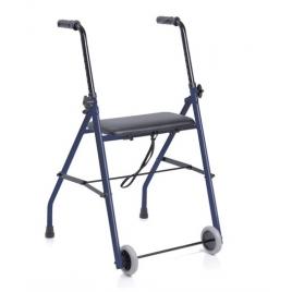 Andador plegable con asiento y dos ruedas fijas